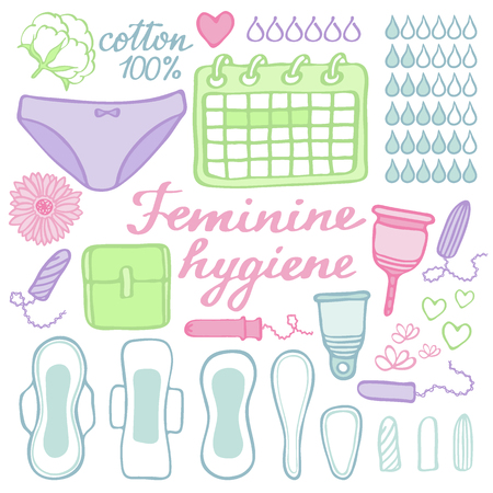 Feminine hygiene set. Hand-drawn cartoon collection of monthly period stuff - sanitary napkin, tampon, menstrual cup, panties, monthly calendar. Doodle drawing. Vector illustration