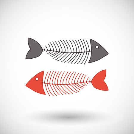 graphic icon: Fishbone sketch. Hand-drawn fishing or coocking icon. Doodle drawing. Vector illustration