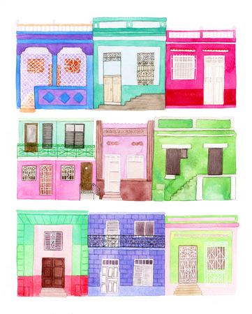 case colorate: Vecchio colorato set casa. disegnati a mano le case - edifici diversi dall'America Latina città. disegno ad acquerello reale.