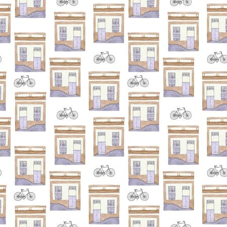 bycicle: Old house and bycicle. Seamless pattern with hand drawn building and bike. Real watercolor drawing. Stock Photo