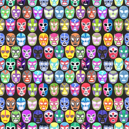 Luchador or fighter mask set. Seamless pattern with hand-drawn lucha libre - free fight - masks - colorful helmets on the white background. Real watercolor drawing. Stockfoto