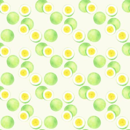 Passion fruit or maracuya. Seamless pattern with hand-drawn fruits  - passionfruit.  Real watercolor drawing. Stock Photo
