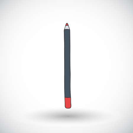 lip pencil: Lip pencil. Hand-drawn doodle cosmetics with round shadow. Vector illustration.
