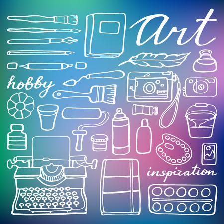 photo tools: Art supplies set. Hand-drawn cartoon collection of art tools - brush, feather, photo camera, paint, artbook. Doodle drawing. Vector illustration