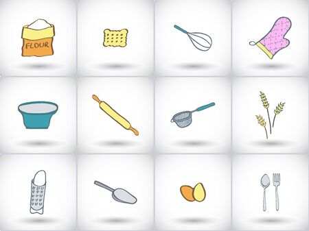 sieve: Bakery icon set. Hand-drawn collection of cartoon icons, kitchen tools and food -  flour, scoop, bowl, cookie, sieve, whisk, kitchen mitten. Doodle drawing. Vector illustration