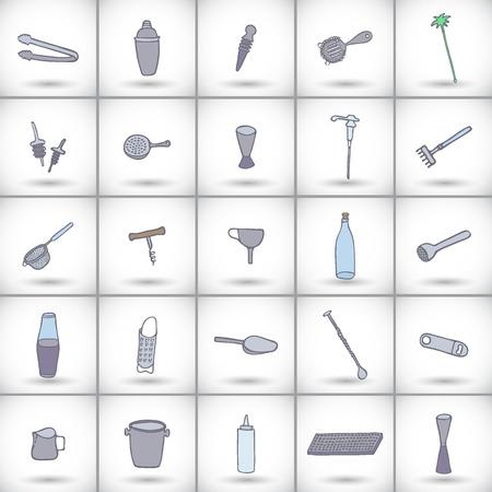 equipment: Bar equipment icons set. Hand-drawn cartoon collection of bartender instruments - shaker, bottle, spoon, geyser, muddler. Doodle drawing. Vector illustration