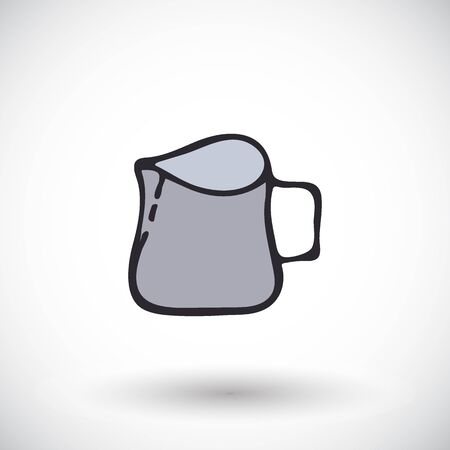 barista: Milk pitcher. Hand-drawn kitchen or bartender supply or barista tool icon. Doodle drawing. Vector illustration