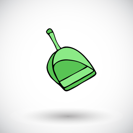 broom handle: Dustpan sketch. Hand-drawn cartoon cleaning icon - scoop. Doodle drawing. Vector illustration.