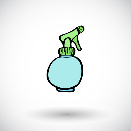 pulverizer: Spray bottle sketch. Hand-drawn cartoon cleaning tool icon - pulverizer. Doodle drawing. Vector illustration.