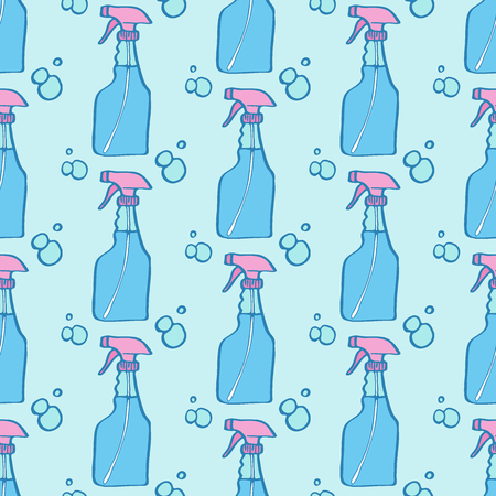pulverizer: Spray bottle sketch. Seamless pattern with hand-drawn cartoon icons - pulverizer and bottles. Doodle drawing. Vector illustration - swatch inside Illustration
