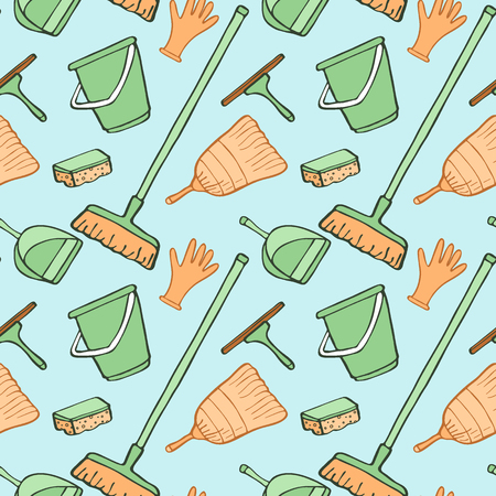 dustpan: Cleaning tools sketch. Seamless pattern with hand-drawn cartoon icons - bucket, sponge, gloves, brush, dustpan. Doodle drawing. Vector illustration - swatch inside