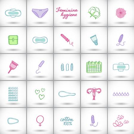 女性用衛生用品を設定します。手描きの漫画コレクション - 生理用ナプキン、タンポン、月経カップ、パンティー、月間カレンダーです。落書きを  イラスト・ベクター素材