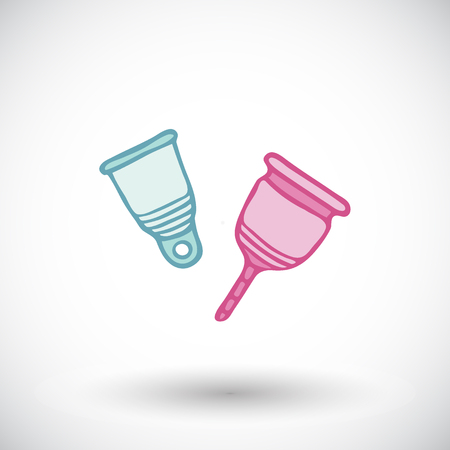 menstrual: Menstrual cup sketch. Hand-drawn cartoon feminine hygiene product icon. Doodle drawing. Vector illustration.
