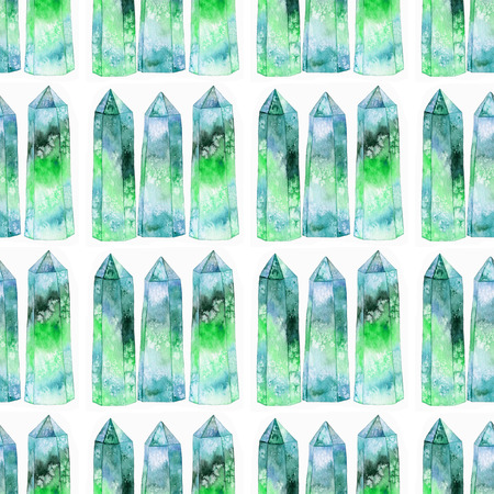 gemstone: Gems or crystals. Seamless pattern with hand drawn gemstone. Real watercolor illustration
