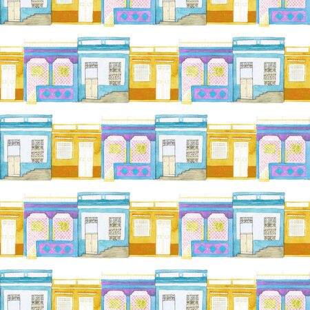 latin america: Old colorful house set. Seamless pattern with hand drawn houses - different buildings from Latin America towns. Real watercolor drawing. Stock Photo