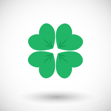 leafed: Four leaf clover icon. Flat design of shamrock with round shadow. Vector illustration Illustration