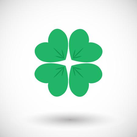 Four leaf clover icon. Flat design of shamrock with round shadow. Vector illustration Illustration