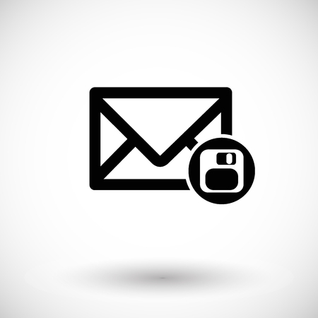 data archiving: Mail icon, envelope with save, floppy disk sign. Flat design vector illustration with round shadow
