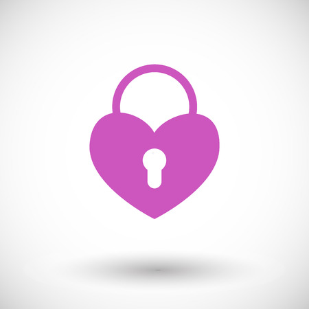 Heart padlock icon. Flat design of Saint Valentine Day symbol with round shadow. Vector illustration