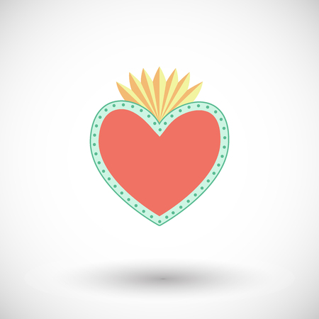 Flat design of flaming heart with dots with round shadow. Vector illustration Illustration