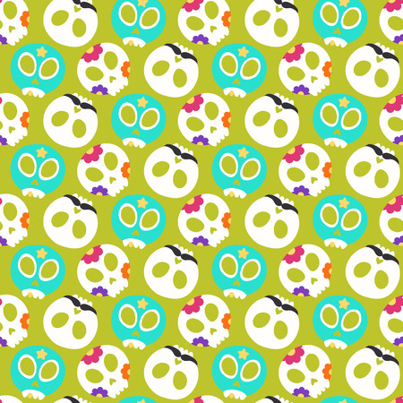 Skull with flowers, moustaches and luchador mask. Seamless pattern with flat design of skulls on the dark background. Vector illustration