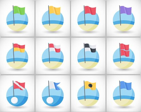 Beach warning flags icons set, Flat design of international signs, flag on the beach with round shadow, vector illustration 向量圖像