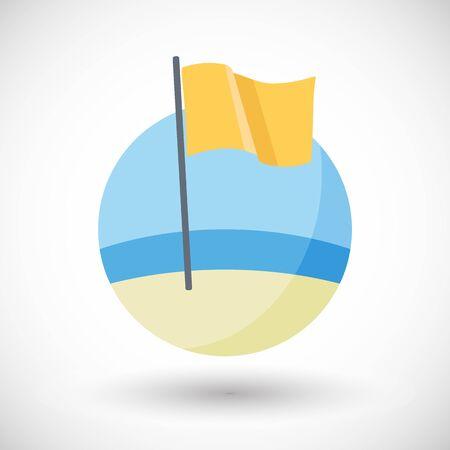 Caution icon, Flat design of yellow warning of medium hazard flag on the beach with round shadow, vector illustration Çizim