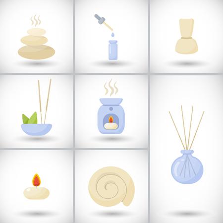 Ensemble d'icônes vectorielles de spa et de massage. Banque d'images - 80110190
