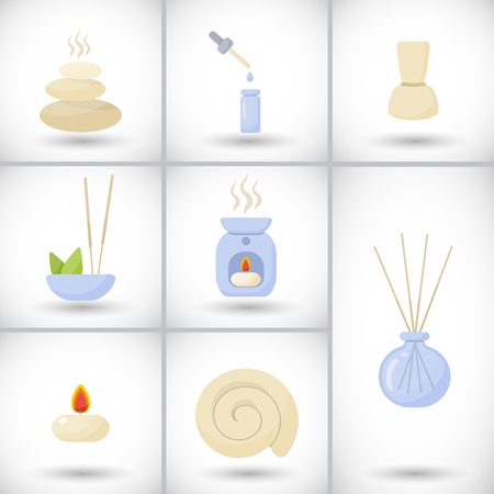 Spa and massage flat vector icons set. Illustration