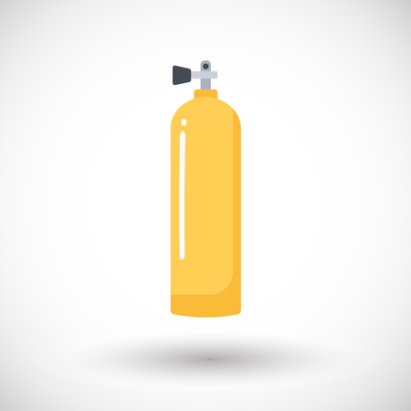 compressed air: Scuba tank icon, Flat design of diving equipment with round shadow, vector illustration