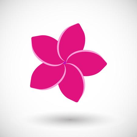 フランジパニ アイコン、丸い影、ベクトル図でプルメリアの花のフラットなデザイン