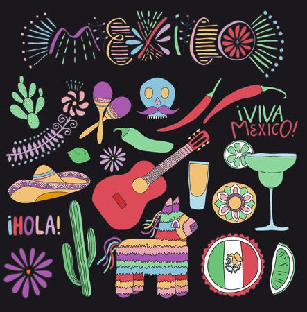 Mexican culture icons set, Cartoon design of Mexico symbols, vector illustration