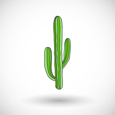 Cactus vector cartoon icon with round shadow Illustration