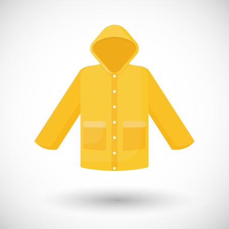 Ikona płaszcz przeciwdeszczowy, Płaska konstrukcja odzieży płaszcz przeciwdeszczowy z okrągłym cieniem, ilustracji wektorowych