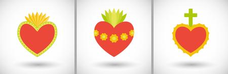 Sacred Heart icons set. Vlak ontwerp van vlammende harten met ronde schaduw. Vector illustratie