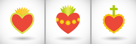 Sacred heart icons set. Flat design of flaming hearts with round shadow. Vector illustration Illustration