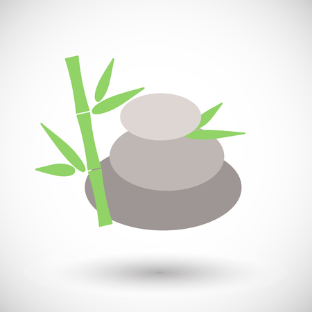 Spa stones with bamboo icon, Flat design of medicine and orient massage with round shadow, vector illustration