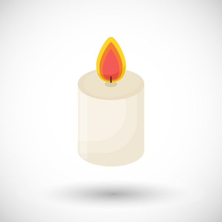 Candle icon, Flat design of aromatherapy or romantic symbol with round shadow, vector illustration