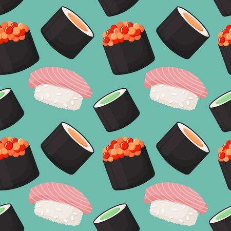 Seamless vector pattern with sushi, asian food, swatch inside