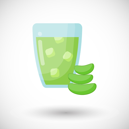 Aloe vera juice vector flat icon, Flat design of medicine, cosmetology and healthcare with round shadow, vector illustration with reflections Vettoriali