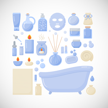 burning: Bathroom vector flat icons, big set of flat design interior, body care and cosmetic products objects isolated on the dark background, vector illustration