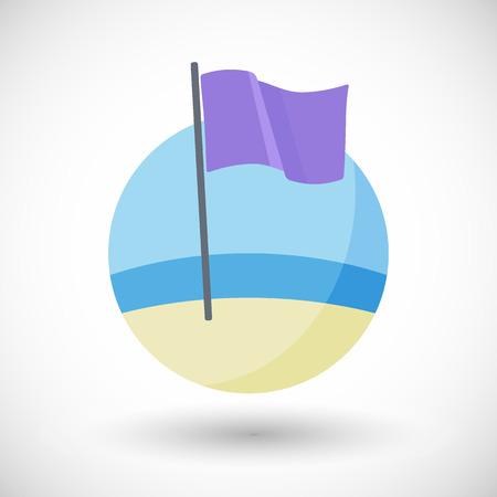 flag: Dangerous marine life icon, Flat design of purple warning flag on the beach with round shadow, vector illustration