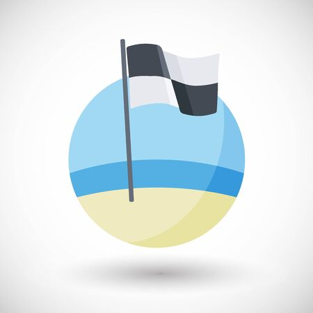 no swimming sign: Watercraft area No swimming flag vector flat icon, Flat design of quartered black and white warning flag on the beach with round shadow. Illustration