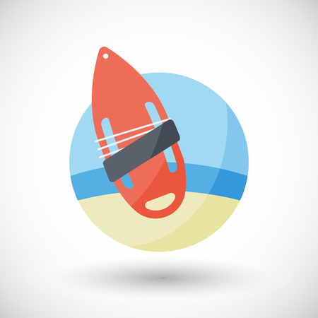 Torpedo buoy lifeguard icon, Flat design of swimming safety with round shadow, vector illustration Illustration