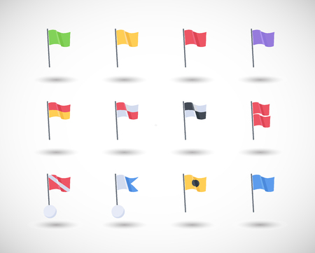 Beach warning flags vector icons set, Flat design of international beach flag signs with round shadow isolated on the white background, vector illustration