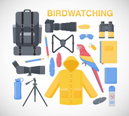 Birdwatching 플랫 벡터 아이콘 세트, 플랫 디자인의 큰 세트 birding 여행, 취미 및 모험 개체 흰색 배경, 벡터 일러스트 레이 션에서 절연 일러스트