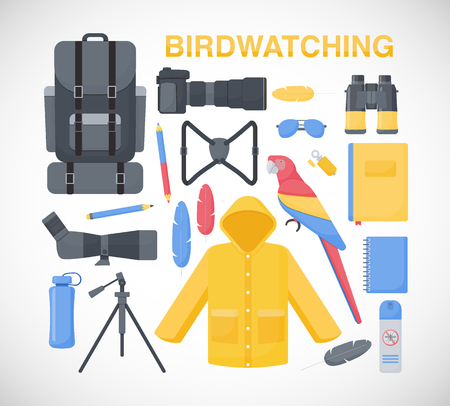 Birdwatching flat vector icons set, big set of flat design birding travel, hobby and adventure objects isolated on the white background, vector illustration Illustration