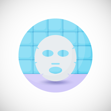 Face mask vector flat icon, Flat design of medicine, cosmetology and healthcare object in the bathroom interior, vector illustration with shadows 版權商用圖片 - 81122811