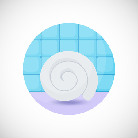 Towel vector flat icon, Flat design of spa, hygiene or massage object in the bathroom interior, vector illustration with shadows