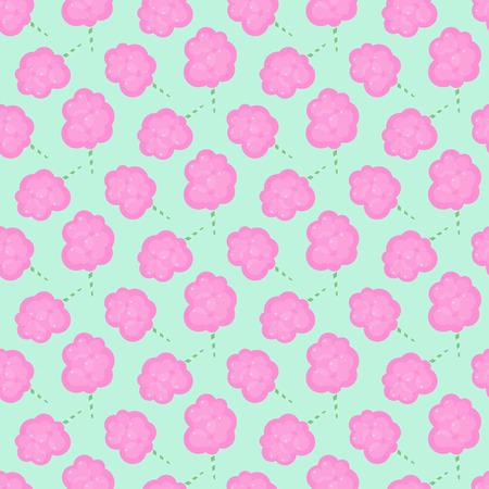 Cotton candy floss seamless pattern, Flat design of sweet food, cartoon vector illustration Illustration